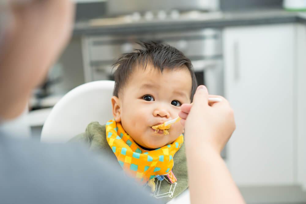 bayi laki laki yang sedang disuapi makanan oleh ibunya