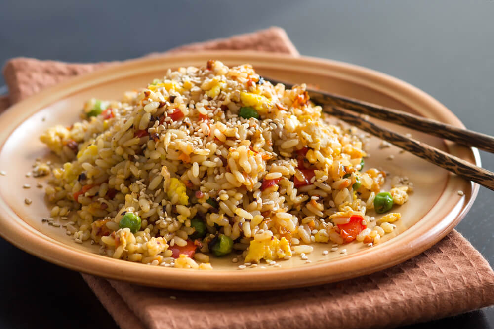 A plate of the best Nasi Goreng Cina served on a table