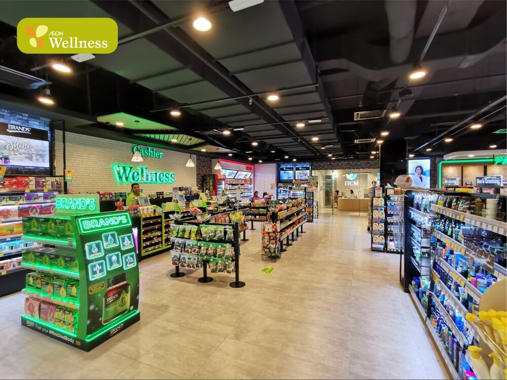 Aeon Wellness aisle with cashier at the back.