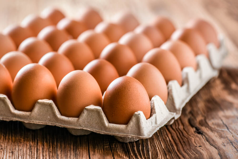 Eggs arranged on a tray