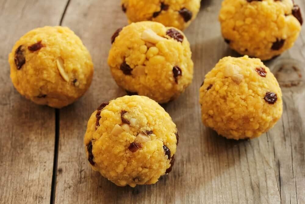 Deepavali sweet laddu with raisins